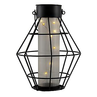 Black Metal Hexagon Cage Solar LED Lantern Light
