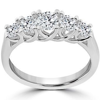 1 ct 5 - piedra graduada Real ronda boda anillo solitarios 14K oro blanco