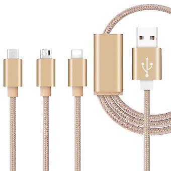 (Gold) 1 Meter Länge 3 in 1 Mehrere Datenkabel mit Typ C / 8 Pin Beleuchtung / Micro USB Connector für Nokia 1