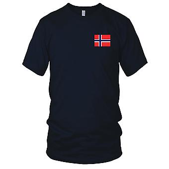Norway Norwegian Country National Flag - Embroidered Logo - 100% Cotton T-Shirt Mens T Shirt