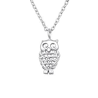 Owl - 925 Sterling Silver Plain Necklaces - W25025X