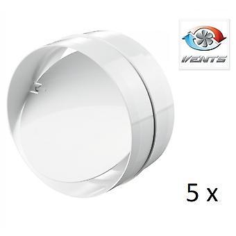 Backdraft Shutter / Coupler - For Ducting - (5 Pack) Fans - 100mm 4'' Round PVC - Vent - Back Draft