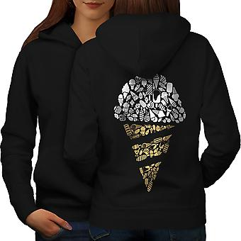 Ice Cream Art Cold Food Women BlackHoodie Back | Wellcoda