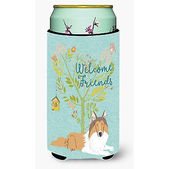 Welcome Friends Collie Tall Boy Beverage Insulator Hugger