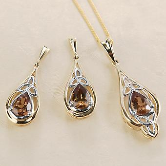 Shipton and Co Ladies Shipton And Co Exclusive 9ct Yellow Gold And 8x5.5mm Pearshape Colour Change Garnet Celtic Drop Earrings  EYG043CG