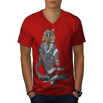 Hot Pimp Funy Dog Men RedV-Neck T-shirt | Wellcoda