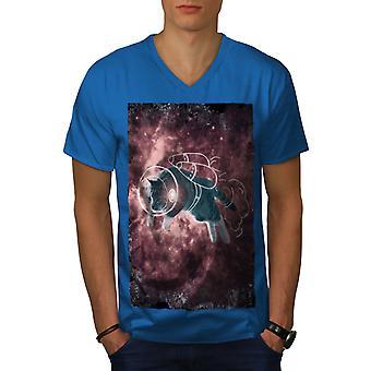 Cat Astronaut Funy Men Royal BlueV-Neck T-shirt | Wellcoda