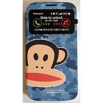 Ursprungliga Paul Frank ® Visa påse täcka konstläder för Samsung Galaxy S4 / LTE design Camo Blau