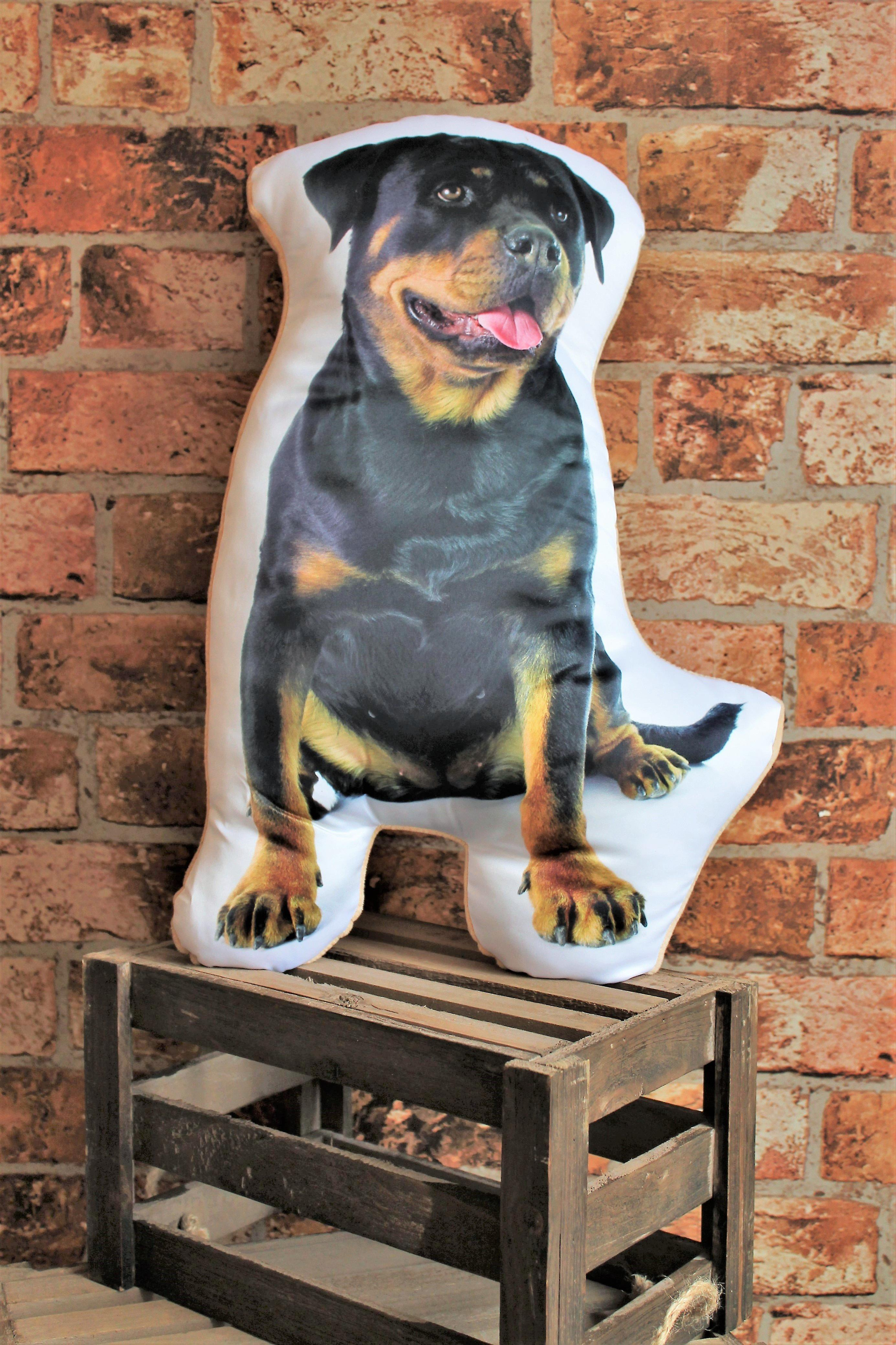 Adorable rottweiler shaped cushion