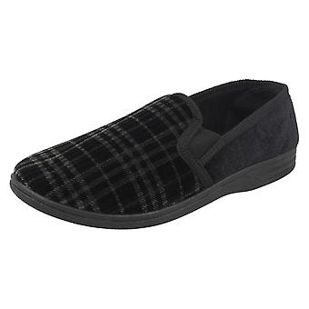 Mens Spot On Checked Slippers - Black Textile - UK Size 7 - EU Size 41 - US Size 8