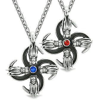 Yliluonnollinen Dragon Amulet valtuuksia rakkautta parit tai parhaat kaverit punainen sininen kiteet riipus kaulakorut