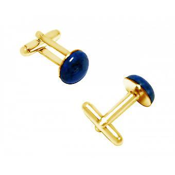 Herren - Manschettenknöpfe – Vergoldet – Lapis Lazuli – Blau – 12 mm