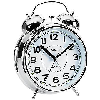 Atlanta 1649/19 alarm klok kwarts zilveren Bell alarm clock twin Bell alarm clock licht