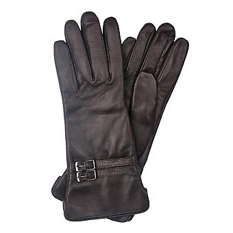 Brown Twin Buckle Leather Gloves