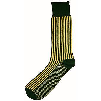 Bassin og Brown vertikal Stripe Midcalf sokker - grønn/gul