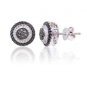 Star Wedding Rings Sterling Silver Round Earring Set With Black And White Diamonds