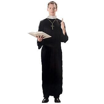 Priest Father Religious Church Black Gown Men Costume