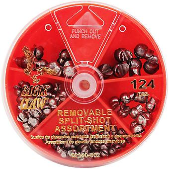 Eagle Claw Removable Split-Shot Sinkers Dial Pack (124 pcs)