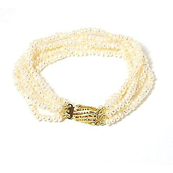 TOC Button Bleached White Freshwater Cultured Five Strand Bracelet 7.5 Inches