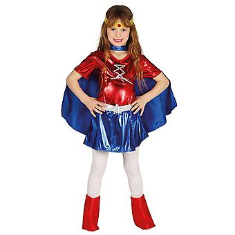 Meisjes rood & superheld Fancy Dress kostuum blauw