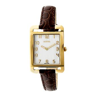 Bertha Marisol Swiss MOP Leather-Band Watch - Dark Brown