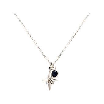Maritim Halskette Nordstern Polarstern 925 Silber, vergoldet oder rose - Saphir