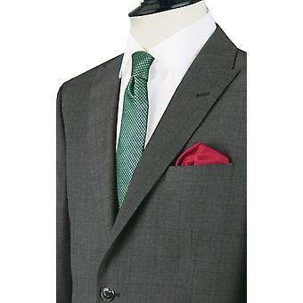 Dobell Mens Charcoal Suit Jacket Regular Fit Peak Lapel Windowpane Check