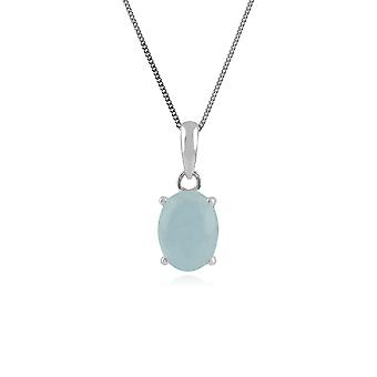 Classic Oval Milky Aquamarine Single Stone Pendant Necklace in 925 Sterling Silver 270P023801925