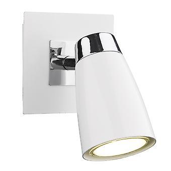 Dar belysning Loft enkelt væglampe i Matt hvid og poleret krom