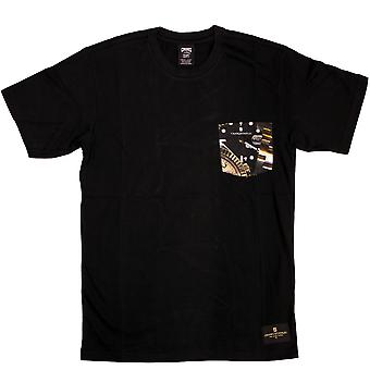 Bandidos & castelos relógio bolso t-shirt preto