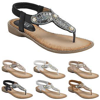 Womens Elasticated Strappy Diamante Summer Slip On Open Toe Wedge Sandal UK 3-8