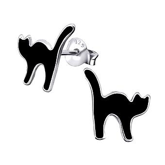 Children's Sterling Silver Lucky Black Cat Stud Earrings