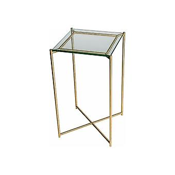 Gillmore Clear Glass Square Lamp Table With Brass Cross Base