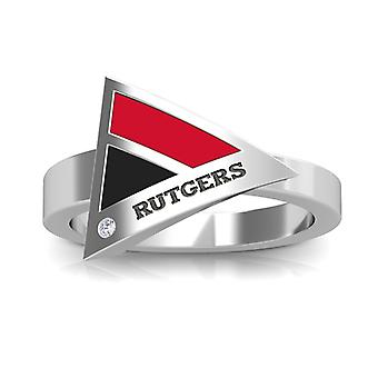 Rutgers University Engraved Sterling Silver Diamond Geometric Ring In Red and Black