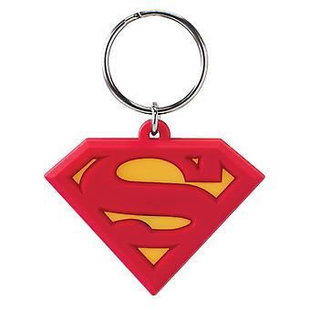 PVC Key Chain - DC Comic - Superman Logo Soft Touch Keyring New 45131