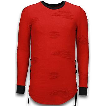 Destroyed Look Sweater-Side Laces Long Fit sweater-Red