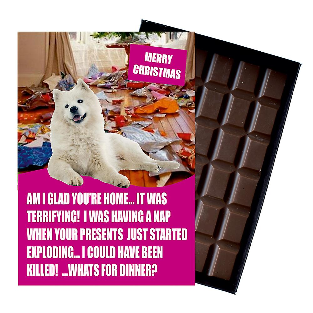 Samoyed Funny Christmas Gift For Dog Lover Boxed Chocolate Greeting Card Xmas Present