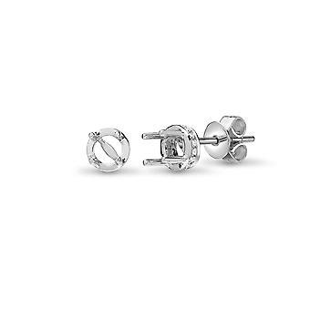 Jewelco London Solid 18ct White Gold Pave Set Round G SI1 0.12ct Diamond Semi-set Halo Mount Stud Earrings
