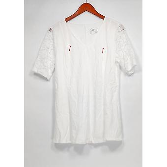 Denim & Co. Damen's Top Fit & Flare Stretch Spitze weiß A290115