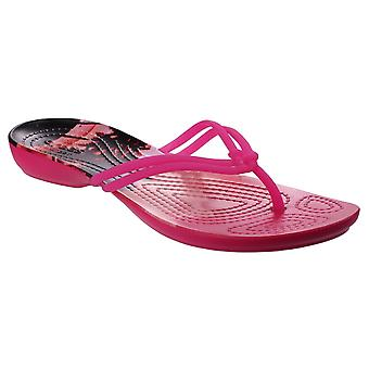 Crocs Womens Isabella Graphic Flip Flop Candy Pink/Tropical