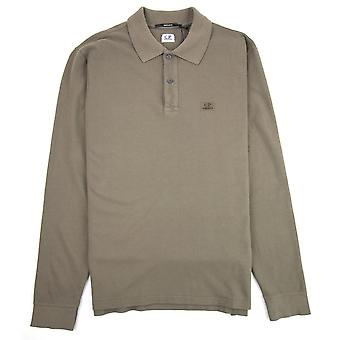 CP bedrijf Piquet lange mouw Polo shirt regular fit stoffige Olive 661
