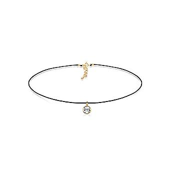 Elli Gold Plated Women's Necklace - White Crystal Round