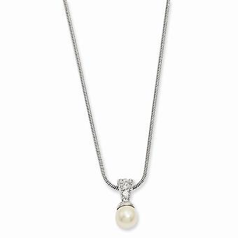 Lobster Claw Closure Rhodium plated White Glass Pearl CZ Cubic Zirconia Simulated Diamond Necklace 18 Inch Jewelry Gifts