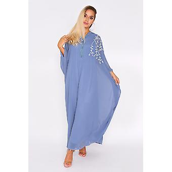 Djellaba natalie ricamato a maniche lunghe leggero con cappuccio maxi abito in blu