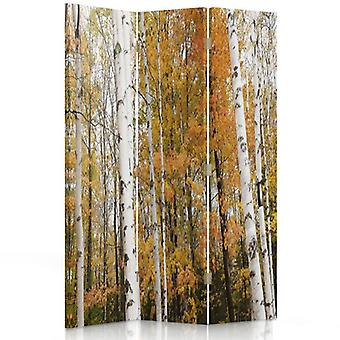 Raumteiler, 3 Paneele, Doppelseitig, 360 ° drehbar, Leinwand, Birkenwald im Herbst