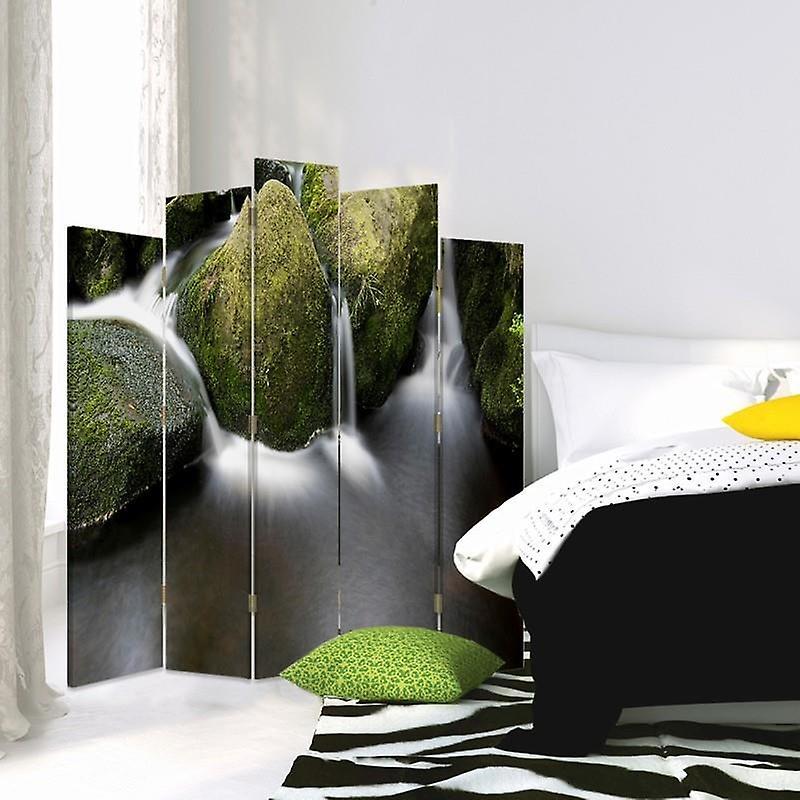 Diviseur de pièce décorative, 5 panneaux, double-sided, toile, pierres dans la rivière