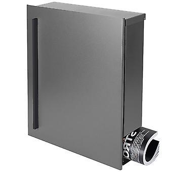 MOCAVI pole 110R konstrukcja skrzynki pocztowej z gazety szarego aluminium (RAL 9007) pole ściany skrzynki pocztowej, zamek linki, duże 12 litr
