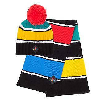 Playstation Beanie Scarf Gift Set Retro Colors Logo new Official Unisex