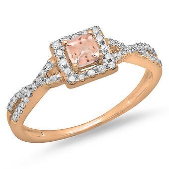 Dazzlingrock Collection 14K Cushion Cut Morganite & Round Diamond Swirl Bridal Halo Engagement Ring, Rose Gold
