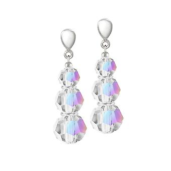 Eternal Collection Trinity Aurora Borealis Crystal Silver Tone Drop Screw Back Clip On Earrings